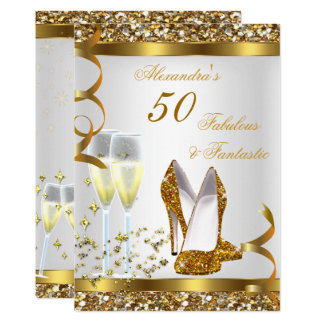Fabulous 50 Fantastic Gold Heels Birthday Party Card
