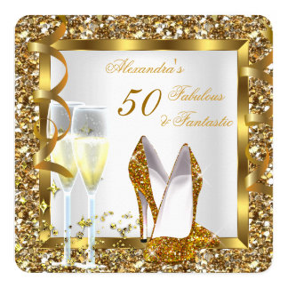 Fabulous 50 & Fantastic Gold Heels Birthday Party 5.25x5.25 Square Paper Invitation Card
