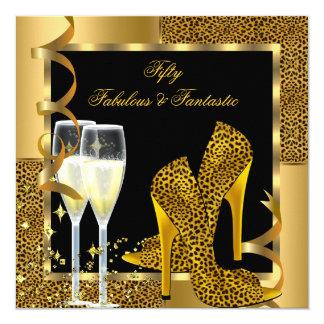 Fabulous 50 & Fantastic Leopard Black Gold Party Card