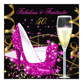 Fabulous 50 Fantastic Pink Hi Heels Gold Party 5.25x5.25 Square Paper Invitation Card