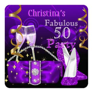 Fabulous 50 Fantastic Purple High Heels Champagne Card