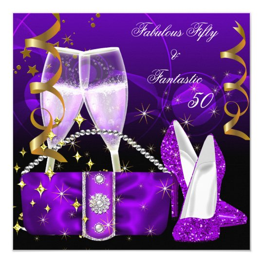 Glitter Fifty And Fabulous: Fabulous 50 Fantastic Purple High Heels Glitter Card