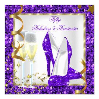 Fabulous 50 Fantastic Purple White Gold Birthday 5.25x5.25 Square Paper Invitation Card
