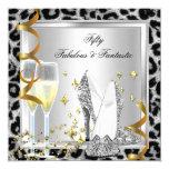 """Fabulous 50 & Fantastic Silver Leopard Birthday 5.25"""" Square Invitation Card"""