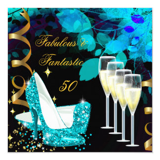 Fabulous 50 Fantastic Teal Gold Champagne Birthday 5.25x5.25 Square Paper Invitation Card