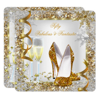 Fabulous 50 Fantastic White Gold Birthday Party Card