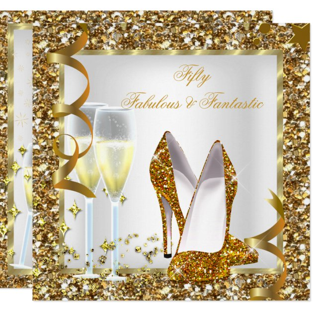 Fabulous 50 Amp Fantastic White Gold Birthday Party Card