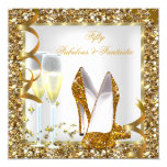 Fabulous 50 & Fantastic White Gold Birthday Party 5.25x5.25 Square Paper Invitation Card