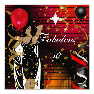Fabulous 50 Fifty Birthday Party Black Red Stars 2 5.25x5.25 Square Paper Invitation Card