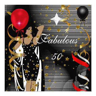 Fabulous 50 Fifty Birthday Party Black Red Stars 3 5.25x5.25 Square Paper Invitation Card