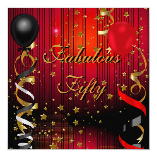 Fabulous 50 Fifty Birthday Party Black Red Stars Card