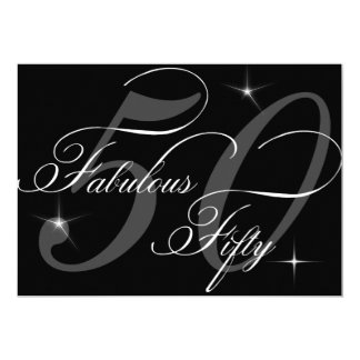 Fabulous 50 fifty Black White 50th Birthday Party 5x7 Paper Invitation Card
