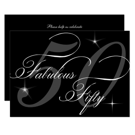 Fabulous 50 Fifty Black White 50th Birthday Party Invitation