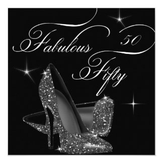 Fabulous 50 fifty Black White High Heels Birthday 5.25x5.25 Square Paper Invitation Card