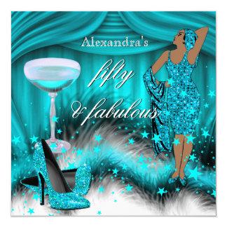 Fabulous 50 Glamorous Teal Blue High Heel Birthday Card