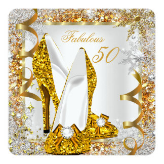 Fabulous 50 Glitter Gold Birthday Party Card