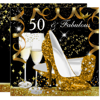 Fabulous 50 Glitter Gold Heel Glitz Glam Party Card