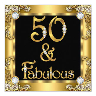 Fabulous 50 Gold Black 50th Birthday Party Card