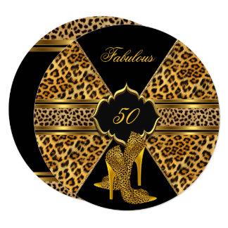 Fabulous 50 Gold Black Leopard Hi Heels Birthday Card
