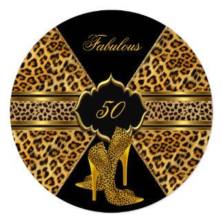 Fabulous 50 Gold Black Leopard Hi Heels Birthday Invitation