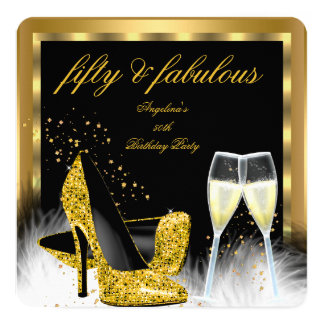 Fabulous 50 Gold Champagne High Heels Birthday Card