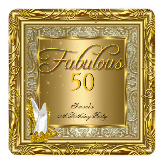 Fabulous 50 Gold Damask High Heels Birthday Party 5.25x5.25 Square Paper Invitation Card