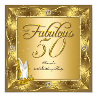 Fabulous 50 Gold High Heels Birthday Party 5.25x5.25 Square Paper Invitation Card