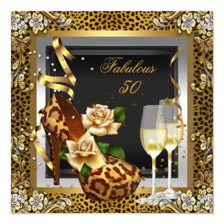 Fabulous 50 Gold Leopard Black High Heels Party Card