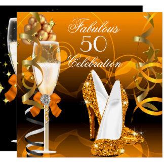 Fabulous 50 Gold Orange Birthday Party Card