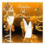Fabulous 50 Gold Orange Birthday Party 5.25x5.25 Square Paper Invitation Card