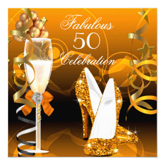 Fabulous 50 Gold Orange Birthday Party 5.25x5.25 Square Paper Invitation Card