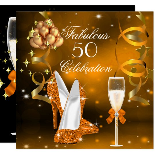 Fabulous 50 Gold Orange High Heel Champagne Party Invitation