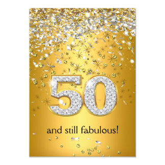 Fabulous 50 Gold Silver Streamers 50th Birthday Card