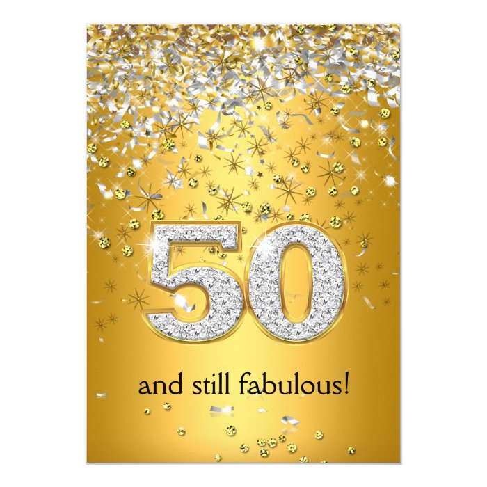 50 And Fabulous Text: Fabulous 50 Gold Silver Streamers 50th Birthday Card