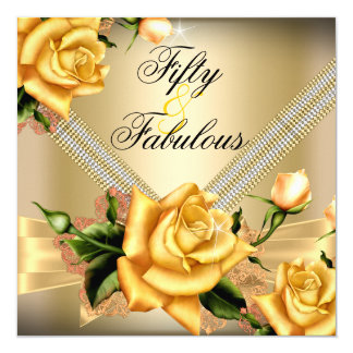 Fabulous 50 Gold Yellow Rose Floral Birthday Party Card