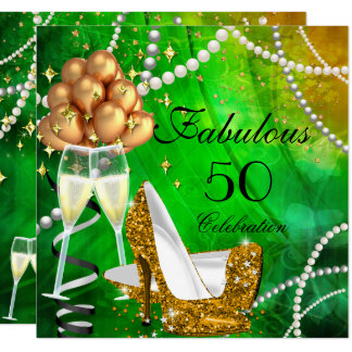 Fabulous 50 Green Gold Heels Champagne Birthday Card