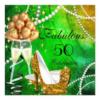 Fabulous 50 Green Gold Heels Champagne Birthday 5.25x5.25 Square Paper Invitation Card
