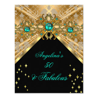 Fabulous 50 Jade Green Gold Damask Birthday Party 4.25x5.5 Paper Invitation Card