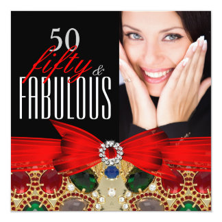 Fabulous 50 Jewel Red Black Photo Birthday Party Card