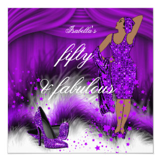 Fabulous 50 Lady Purple High Heels Birthday Party Card