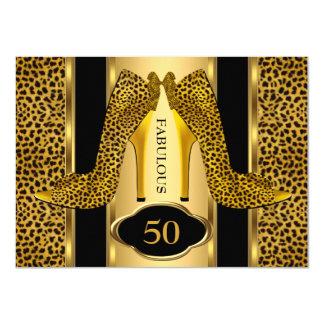 Fabulous 50 Leopard Gold Cheetah High Heels Party Card