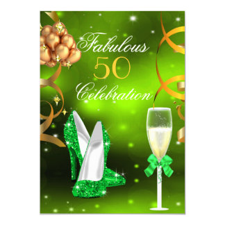 Fabulous 50 Lime Green Gold Heels Champagne Party Card