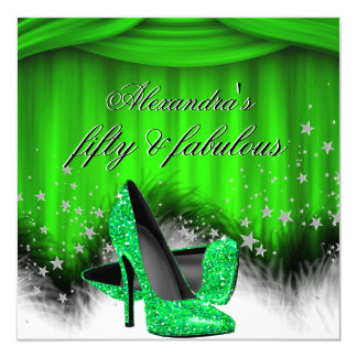 Fabulous 50 Lime Green High Heels Feather Birthday Card
