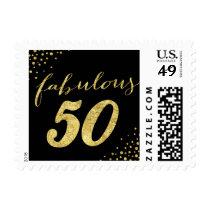 Fabulous 50 Modern Black & Gold Postage