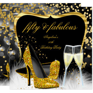 Fabulous 50 Party Black Gold Champagne High Heel Card