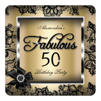 Fabulous 50 Party Cream Gold Damask Black Lace 5.25x5.25 Square Paper Invitation Card