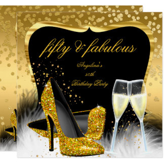 Fabulous 50 Party Gold Champagne Glitter Heels