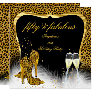 Fabulous 50 Party Gold Champagne Leopard Card