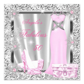 Fabulous 50 Party Light Pink Silver Snowflakes Card
