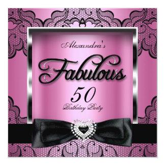 Fabulous 50 Party Pink Damask Black Lace Card
